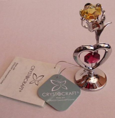 Crystocraft Heart and Flower Suncatcher Cake Topper Keepsake