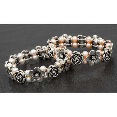 Equilibrium Genuine Fresh Water Pearls Rose Daisy Stretch Flower Bracelet