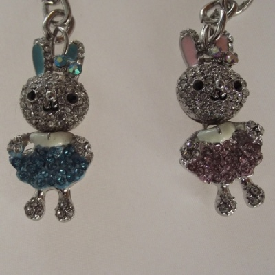 Bejewelled Bunny Rabbit Keyring Bag Ornament Phone Charm