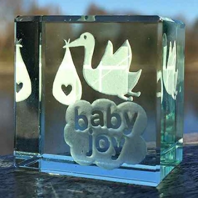 Baby Joy Stork Unisex Keepsake to treasure for Boy or Girl by Spaceform