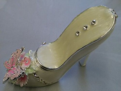 Cinderella Shoe Jewellery Ring Holder Trinket Box