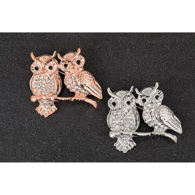 Two Owls on Tree Branch Brooch plated with real rose gold or real white gold equilibrium