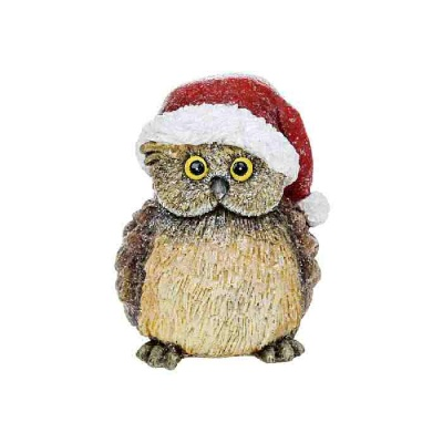 Woodland Christmas Decoration Ornament Owl with Santa Hat