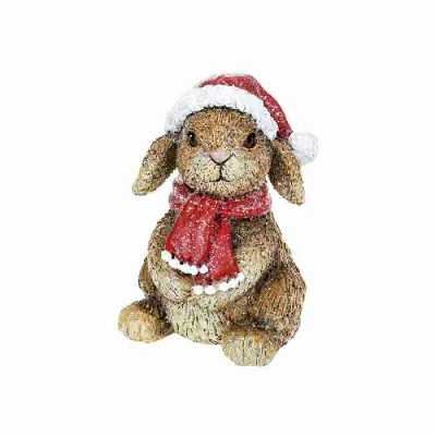 Woodland Christmas Decoration Ornament Bunny Santa Hat