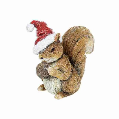 Woodland Christmas Decoration Ornament Squirrel with Santa Hat
