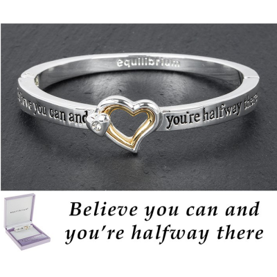 equilibrium Silver / Gold Plated Hinged Bangle ''Believe you can and you're halfway there''