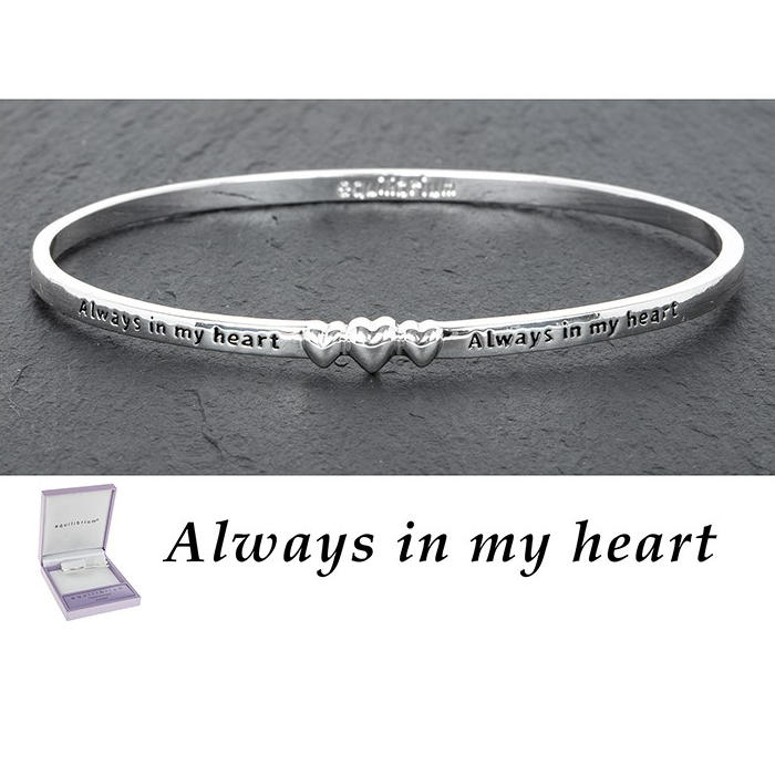 equilibrium Bangle 3 Hearts ''Always in My Heart'' Silver Plated