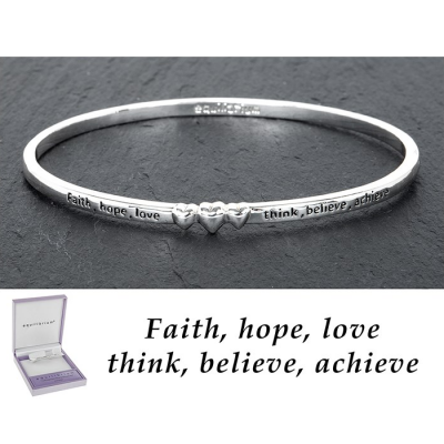 equilibrium Bangle 3 Hearts ''Faith, hope, love, think, believe, achieve'' Silver Plated