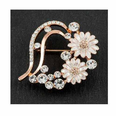 equilibrium rose gold plated Daisy Heart Brooch