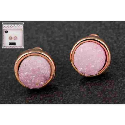 equilibrium Druzy Agate Earrings Round Pink
