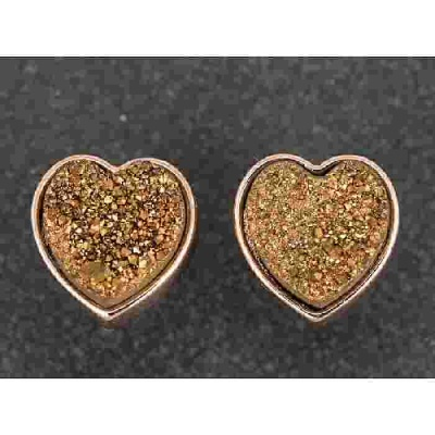 equilibrium Druzy Earrings Heart Bronze