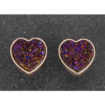 equilibrium Druzy Earrings Heart Purple