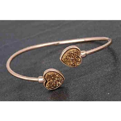 equilibrium Druzy Kissing Bangle Heart Bronze