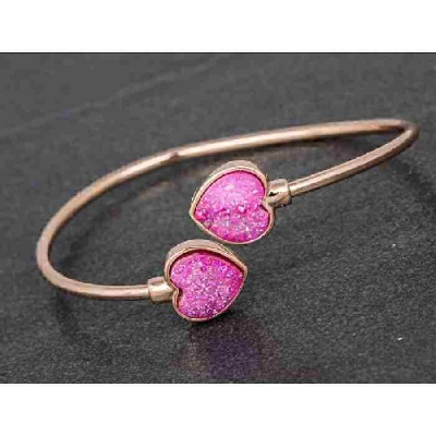 equilibrium Druzy Kissing Bangle Heart Pink