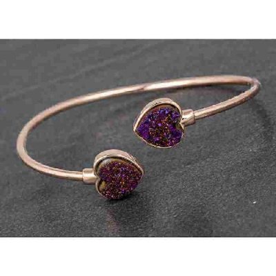 equilibrium Druzy Kissing Bangle Heart Purple