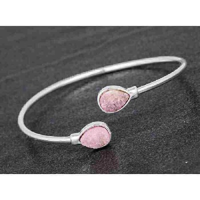 equilibrium Druzy Kissing Bangle Teardrop Pink