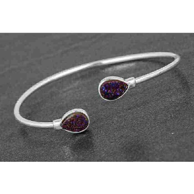 equilibrium Druzy Kissing Bangle Teardrop Purple