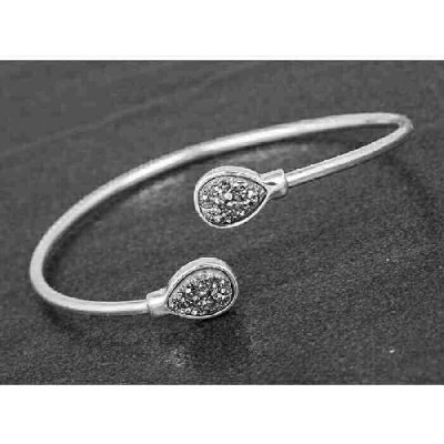 equilibrium Druzy Kissing Bangle Teardrop Silver