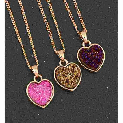 equilibrium Druzy Crystal Necklace Heart