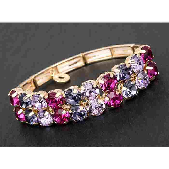 equilibrium Glamour Collection Bracelet Purple Pink Sparkle