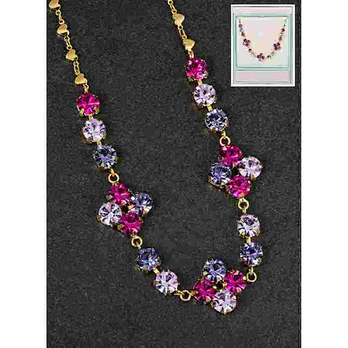equilibrium Glamour Collection Necklace Purple Pink Sparkle