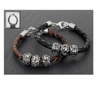equilibrium Men's Cross and Skull Bracelet available in Black or Brown Genuine Leather