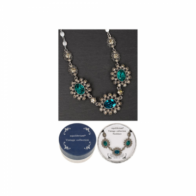 equilibrium Vintage Collection Emerald Green Sapphire Blue Ovals Necklace