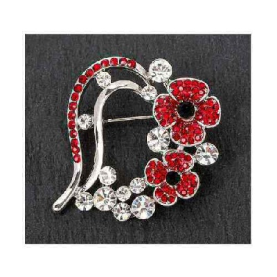 equilibrium Red Poppy Heart Brooch Pin