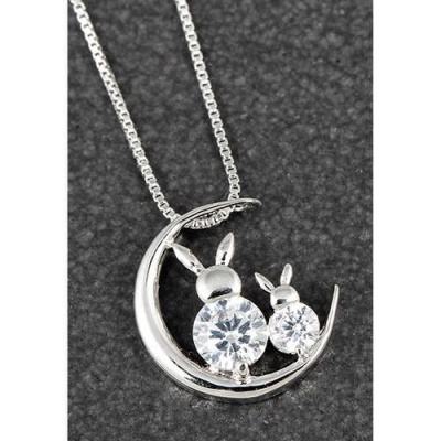 Bunny on Moon CZ Necklace Equilibrium Country Collection