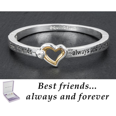equilibrium Silver / Gold Plated Hinged Bangle ''Best friends ......always and forever''