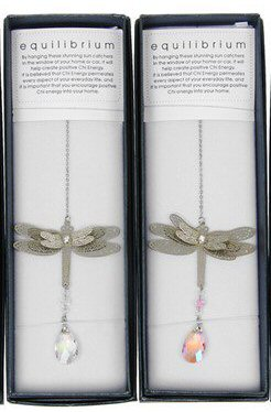 equilibrium Suncatcher 3D Dragonfly Clear Pink Teardrop Crystal