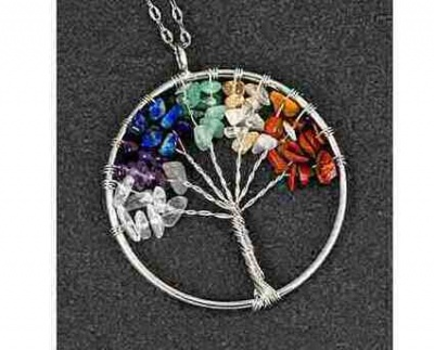 Natural Quartz Tree of Life Necklace Rainbow Colours by equilibrium