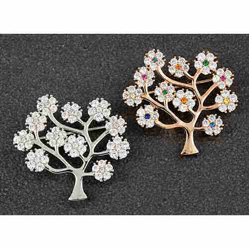 Blossom Tree Brooch plated with real rose gold or real white gold equilibrium Pave CZ