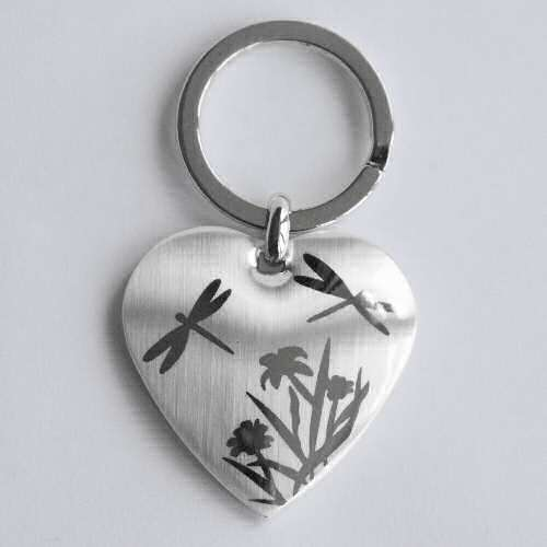 Dragonfly and Flowers Keyring Chrome Heart