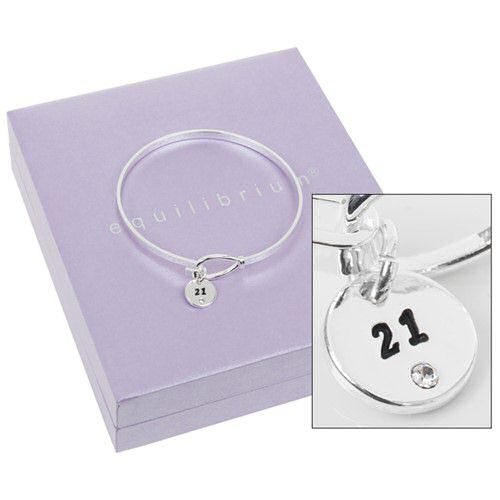 21st Birthday Silver Plated Bangle by Equilibrium