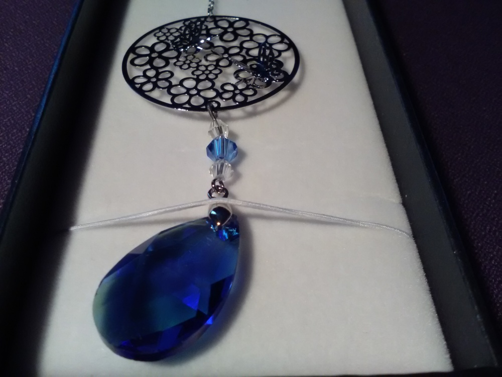 equilibrium Suncatcher Flowers with Blue Teardrop Crystal