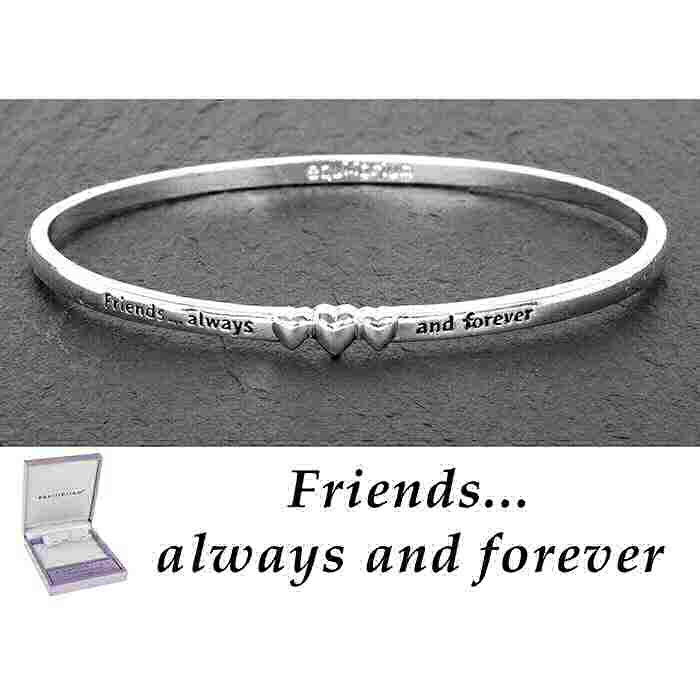 equilibrium Bangle 3 Hearts ''Friends Always and Forever'' Silver Plated