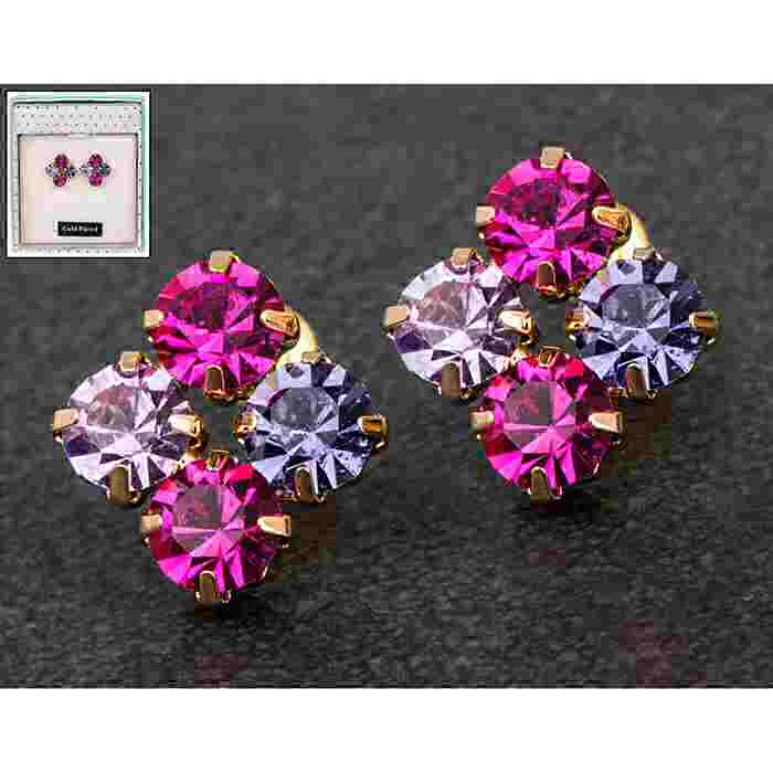 equilibrium Glamour Collection Earrings Purple Sparkle