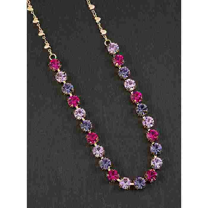 equilibrium Glamour Collection Necklace Single Row Purple Pink Sparkle