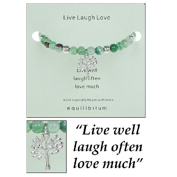 equilibrium Bangle Bracelet Natural Quartz  ''Live, Laugh, Love''