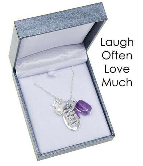 equilibrium Necklace Oval Laugh Often Love Much
