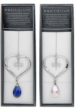 equilibrium Suncatcher  Dragonfly in Heart Blue Pink Teardrop Crystal