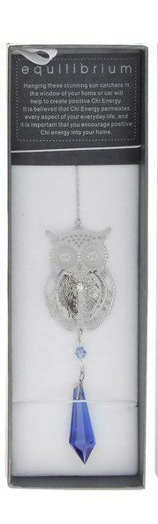 Owl Suncatcher Crystal Teardrop Blue Pink