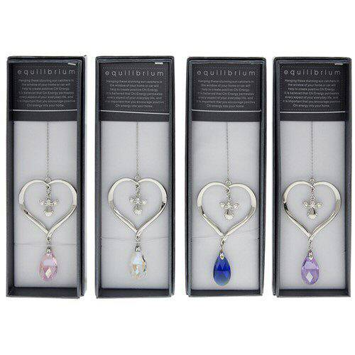 equilibrium Suncatcher  Angel in Heart Crystal Blue Clear Pink Purple
