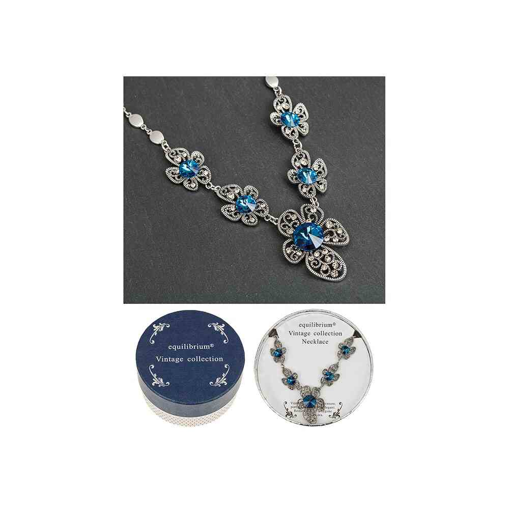 equilibrium Vintage Collection Sapphire Blue Flowers Necklace