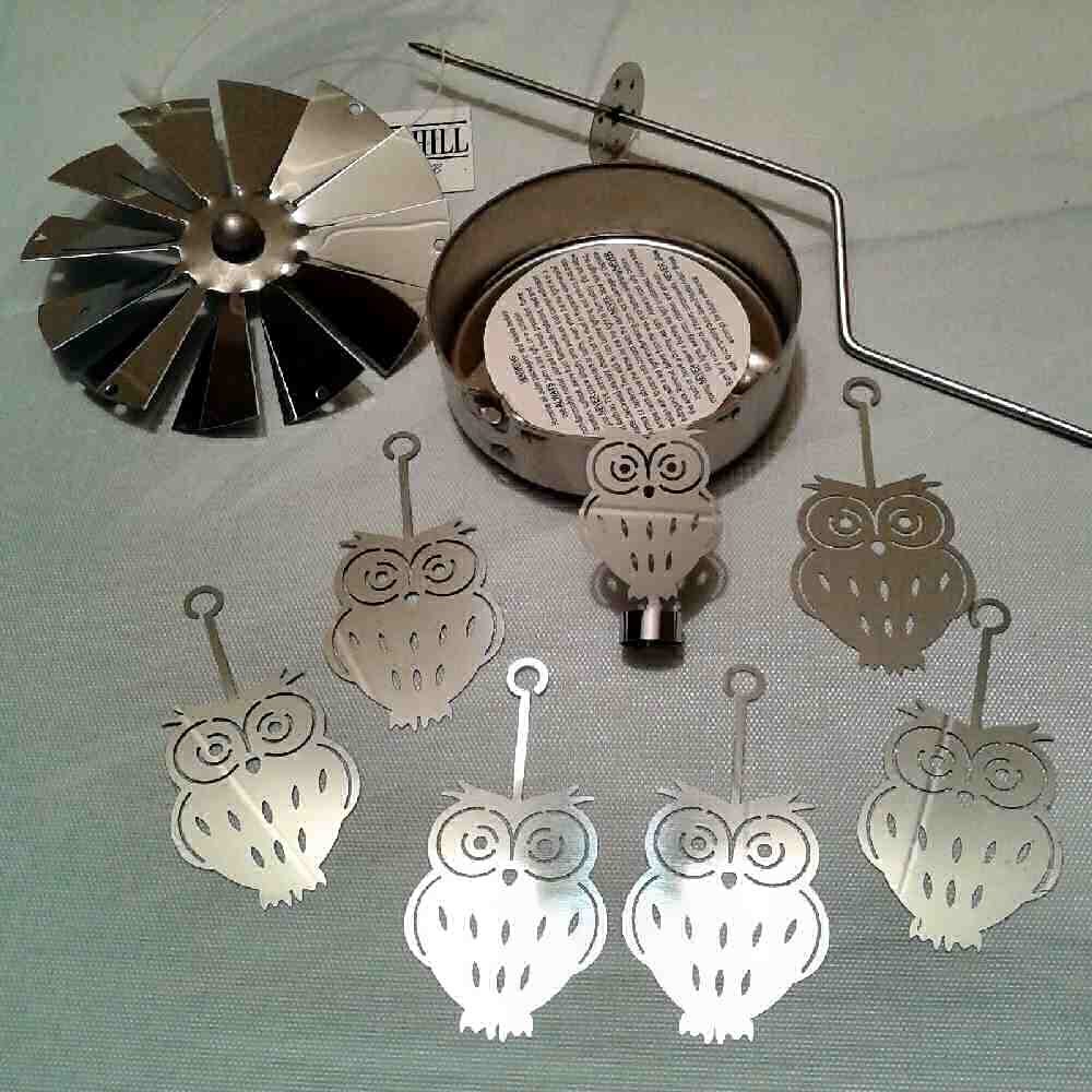 Spinning Carousel Tea Light Holder Silver Metal Owls