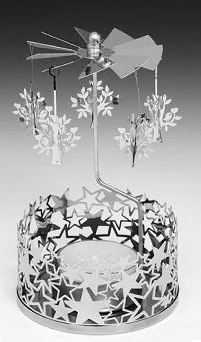 Spinning Carousel Tea Light Holder Silver Metal Trees