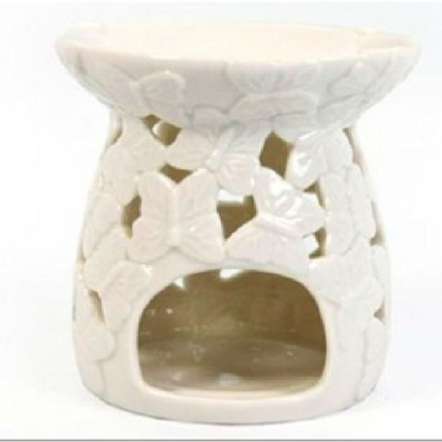 Ceramic Oil Burner with embossed butterflies