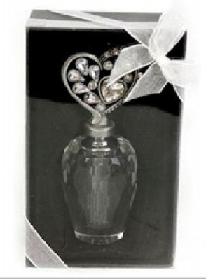 Pewter and Rhinestone Gem Heart Perfume Bottle
