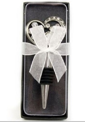 Pewter and Rhinestone Gem Heart Bottle Stopper